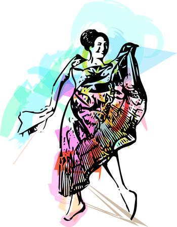 latin american girls: Illustration of woman dancing. Vector Illustration Illustration
