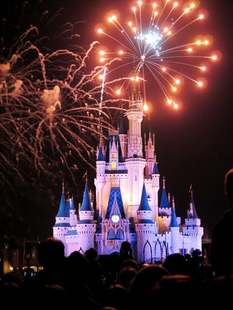 The famous Wishes nighttime spectacular fireworks at the Disney Magic Kingdom Castle in Orlando, Florida, on febrary 7, 2015 新聞圖片