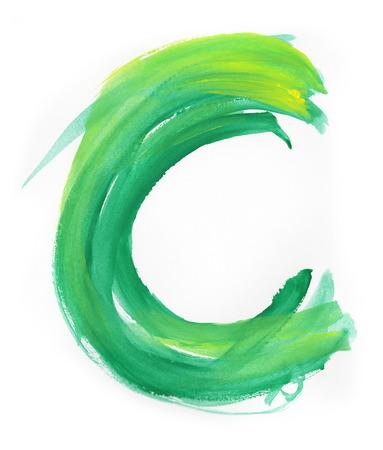 uppercase: Font watercolor illustration uppercase LETTER C