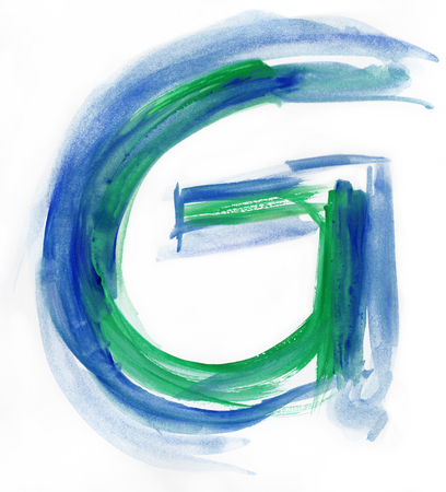 uppercase: Font watercolor illustration uppercase LETTER G