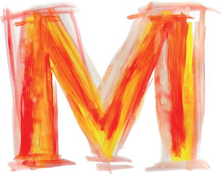 uppercase: Font watercolor vector illustration uppercase LETTER M Illustration