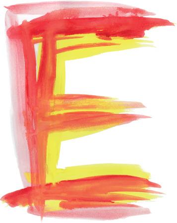 uppercase: Font watercolor vector illustration uppercase LETTER E