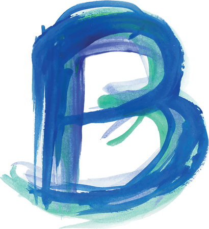 uppercase: Font watercolor vector illustration uppercase LETTER B