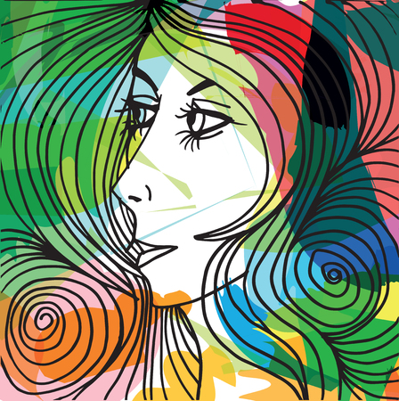 Abstract beautiful woman face illustration
