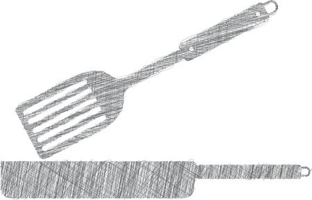 Frying pan illustration, kitchen utensils