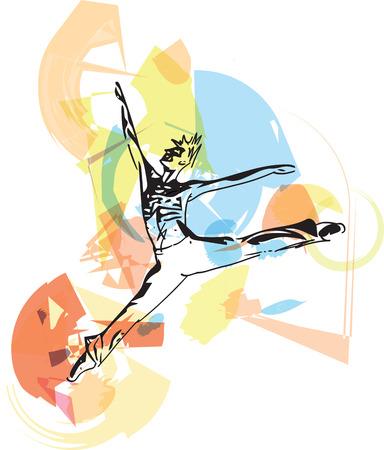 sketch of modern ballet dancer abstract vector illustration Illustration