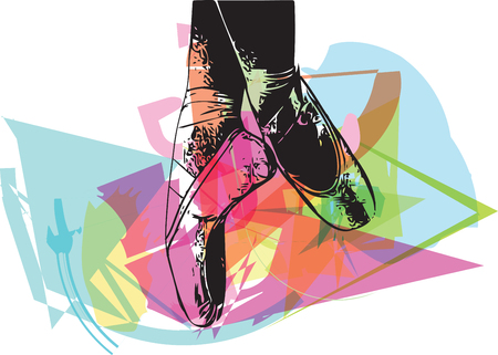 Abstract ballet pointe shoes vector illustration Illustration