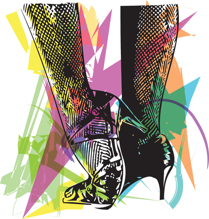 Drawing of Female ballroom shoes, sport dance, latin and salsa dancer feet and shoes in dance academy school Abstract vector illustration Illustration