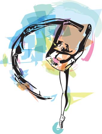 abstract drawing of ballerina dancing, vector illustration