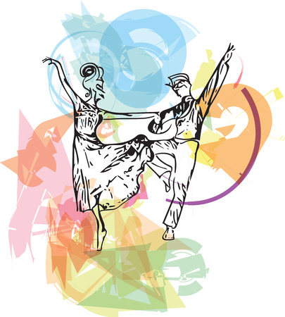 couple dancing ballet vector illustration