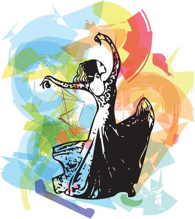 Bailarina abstracta de flamenco. Ilustración vectorial