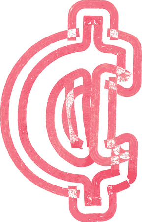 Abstract Cent Symbol Made With Red Marker Vector Illustration