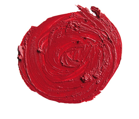 close up of a RED smudged lipstick on white background  Circle Shape