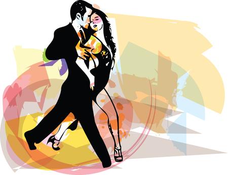 Abstract drawing of Latino Dancing couple vector illustration Illustration