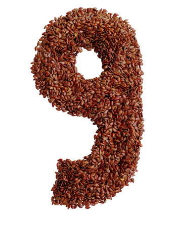 ninth: Number 9 made with Linseed also known as flaxseed isolated on white background. Clipping Path included