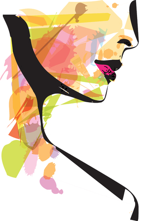 female face closeup: Abstract sketch of Beautiful Woman face illustration