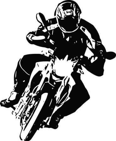 Abstracte ilustratie van extreme motocross racer per motorfiets