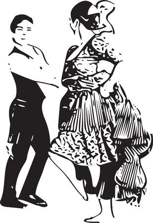 la: Illustration of Couple dancing. Vector Illustration Illustration
