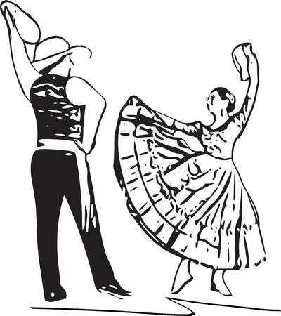 Illustration of Couple dancing. Vector Illustration Ilustração
