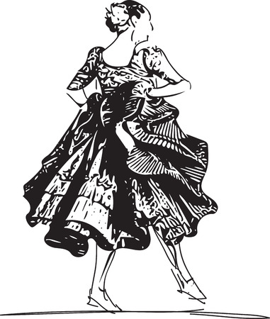 Illustration of woman dancing marinera. Peruvian dancing. Illustration