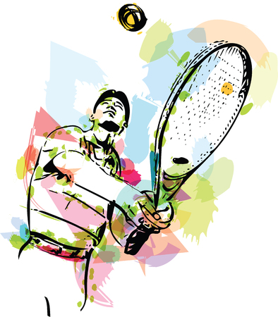 Colorful abstract sketch of one man tennis player at service serving silhouette Illustration