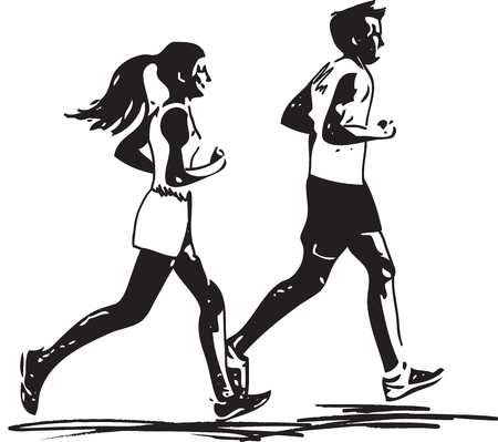 Abstract illustration of young fitness couple of man and woman jogging in park
