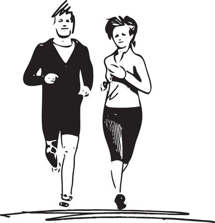 Résumé, illustration, jeune, condition physique, couple, homme, femme, jogging, parc