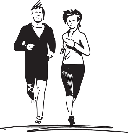 Abstract illustration of young fitness couple of man and woman jogging in park Illustration