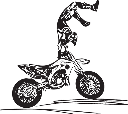 powerfull: Extreme motocross racer by motorcycle on abstract background