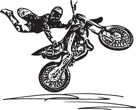 Extreme motocross racer by motorcycle on white background Illustration