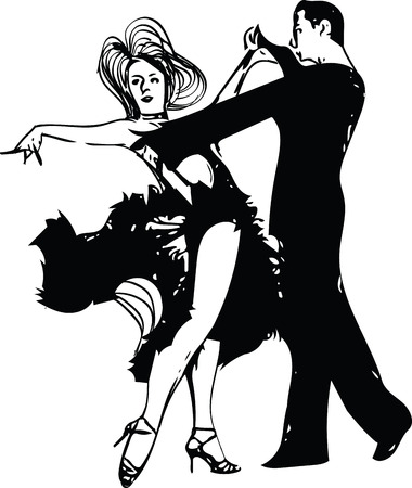 entertainer: Abstract drawing of Latino Dancing couple vector illustration.