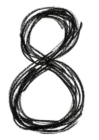 Handwritten sketch black Number 8 on white background