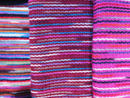 Peruvian hand made woolen fabric background