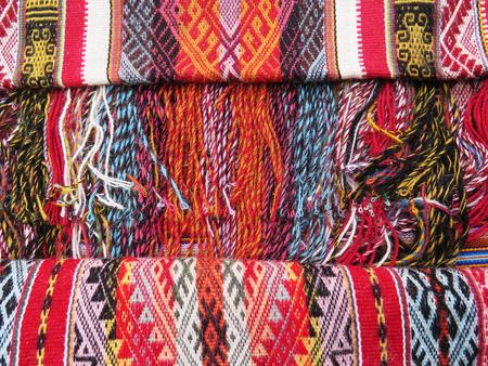tejido de lana: Fondo peruano de la tela de lana hecha a mano Foto de archivo