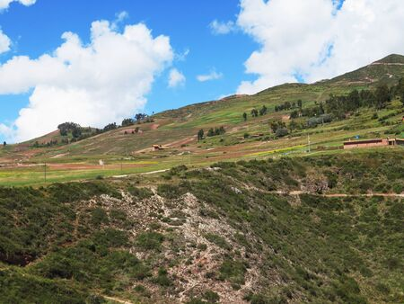 Agricultural field in Sacred Valley, Cusco Region, Peru Banco de Imagens