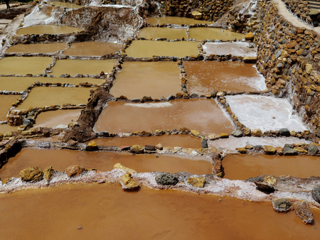 sacred valley of the incas: High angle view of salt pond, Maras, Sacred Valley, Cusco Region, Peru