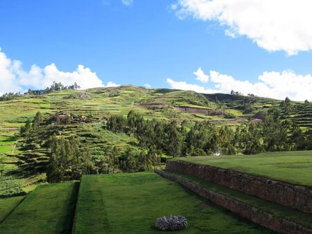 Agricultural field in Sacred Valley, Cusco Region, Peru Stock Photo