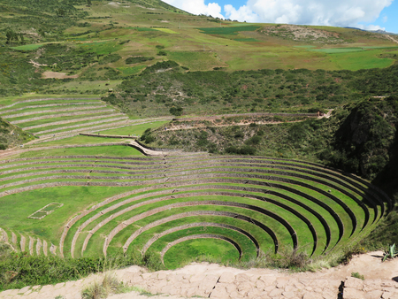 Perú, Moray, antiguas terrazas circulares inca Probable es el laboratorio de agricultura Incas, Valle Sagrado, Cusco Foto de archivo