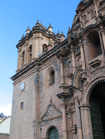 plaza of arms: Cathedral church at the Plaza de Armas. Cuzco, Peru. Sunny day