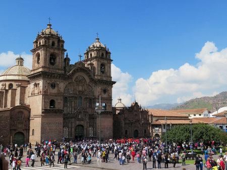 Cathedral church at the Plaza de Armas. Cuzco, Peru. Sunny day