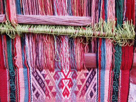 Natural dyed wool yarn in the peruvian Andes at Cuzco Peru Stock fotó