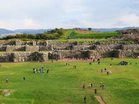 Sacsayhuaman, Incas ruins in the peruvian Andes at Cuzco Peru Stock Photo