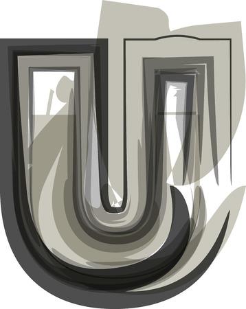Abstract Letter U illustration