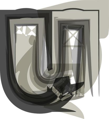 Abstract Letter u Illustration Ilustração