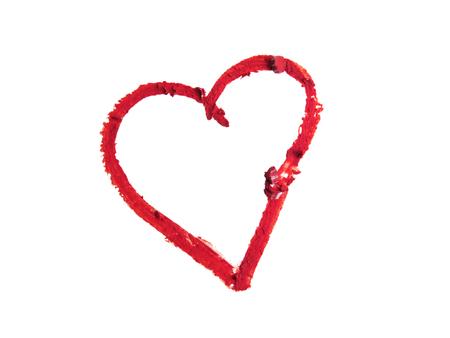 forma de corazón rojo roto aislados sobre fondo blanco Foto de archivo