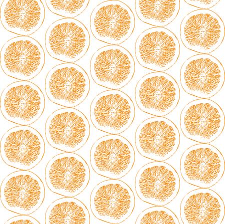 Hand drawn sliced orange fruit seamless pattern on white background vector illustration