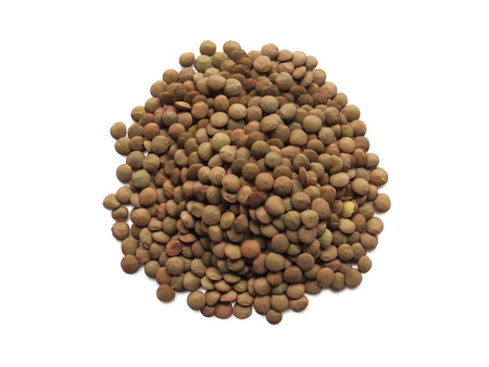 Heap of raw lentils Isolated on White Background