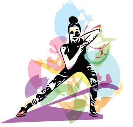 abstrakte Fitness Frau, ausgebildeter weiblicher Körper Vektor-Illustration