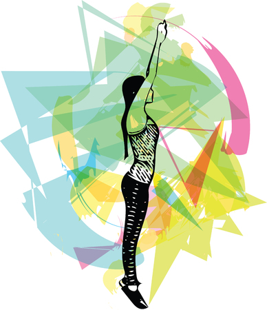 abstract fitness woman, trained female body Vector illustration Illustration