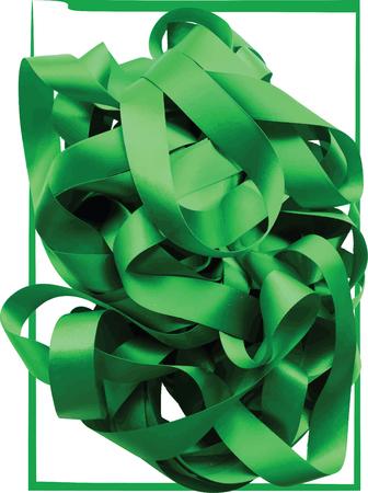 Green ribbon over white background, design element. Vector Illustration